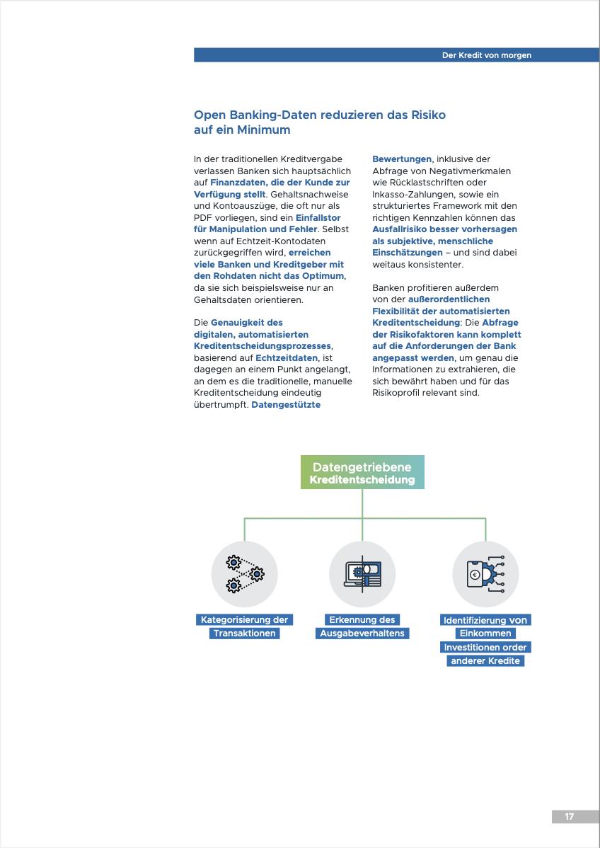 Open Banking Daten reduzieren das Risiko