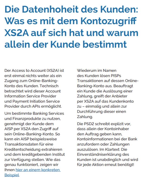Kontozugriff: XS2A